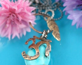 Copper Om Brass Feather And Turquoise Necklace