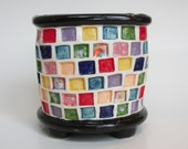Ceramic Pot with Rainbow Squares and Feet