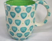 Turquoise and Mint Mug with Scales