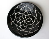Large Black and White Serving Bowl with Carved Design
