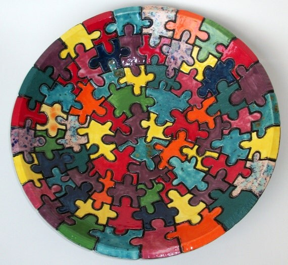 Large Serving Bowl with Puzzle Design FREE SHIPPING