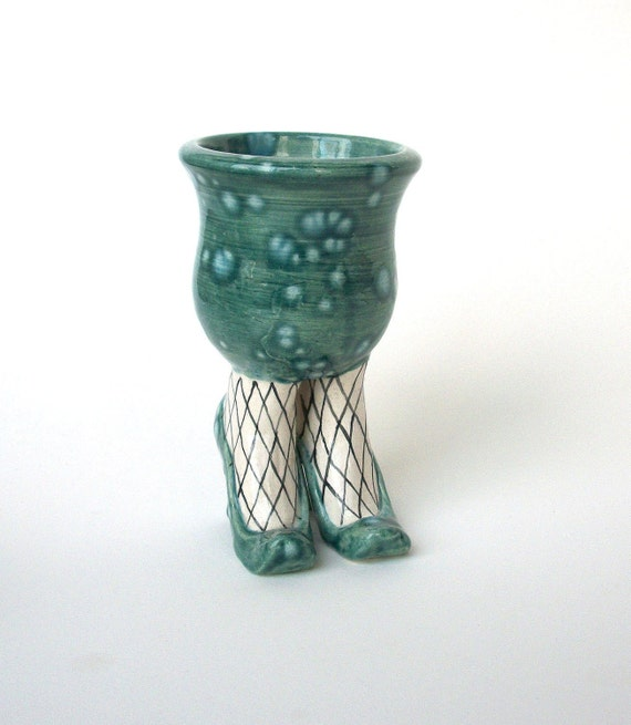 Ceramic Turquoise Sex Pot Planter with Heels and Fishnet Stockings