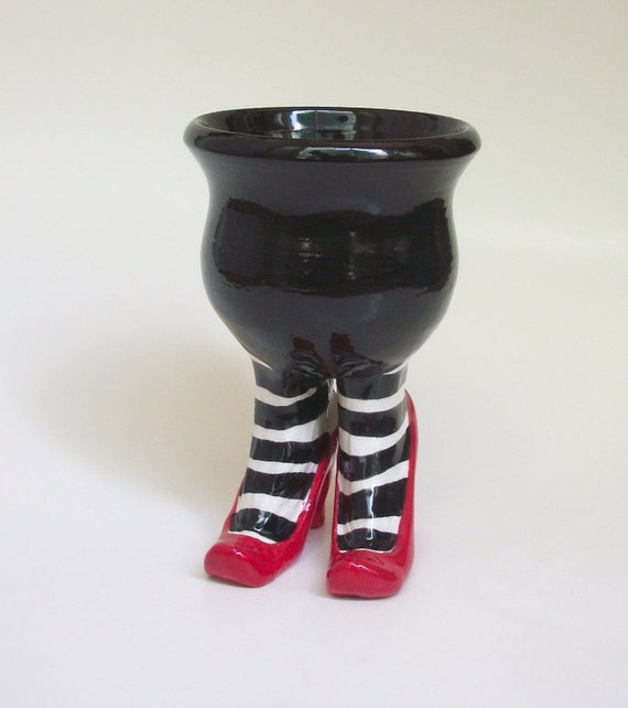 Sex Pot with Heels and Striped Stockings