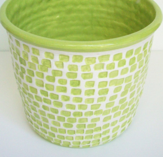 Wheel Thrown Utensil Crock with Squares Chartreuse White