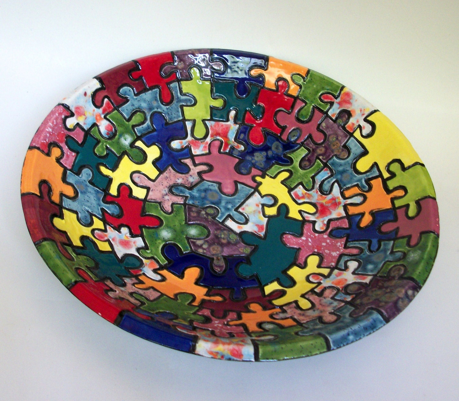 large colorful ceramic bowls with carved puzzle pieces free. Black Bedroom Furniture Sets. Home Design Ideas