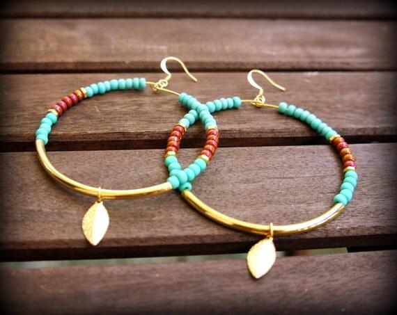 Gold Native Hoops - Brown and Aqua