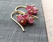 Flutter -- Pink Tourmaline Cluster Earrings, 14k Gold Filled DAINTY, October Birthstone