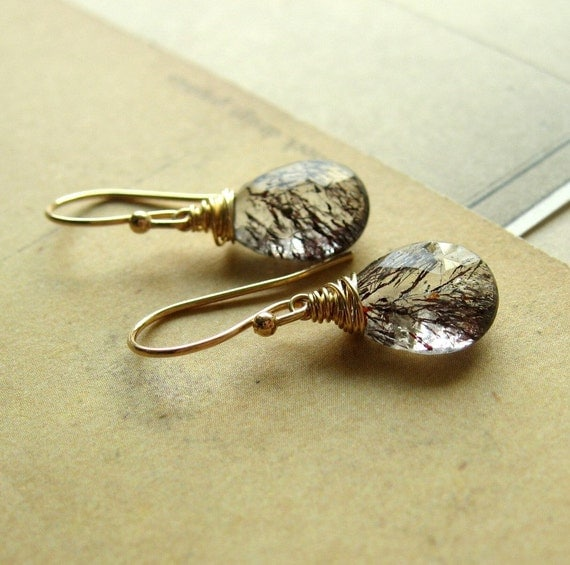 Moss Amethyst in Gold Earrings
