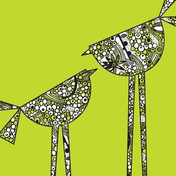 Little Chicken - Long Legs Green Digital Print III