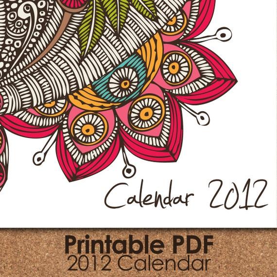 Random Flowers Calendar 2012  printable PDF files
