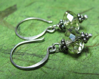 Smoke - Crystal and Sterling Silver Earrings