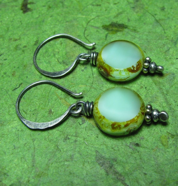 Lagoon - Picasso Czech Glass and Sterling Silver Earrings