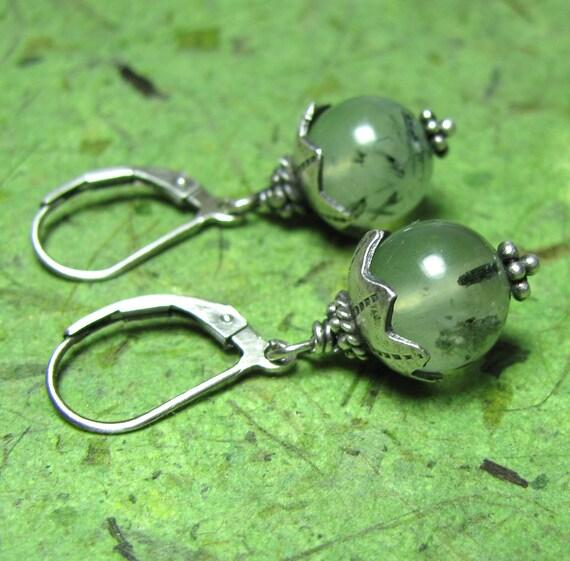 Sea Blooms - Prehnite and Sterling Silver Earrings