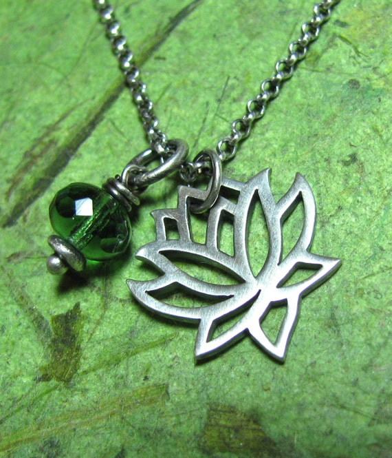 Lotus Bud - Czech Glass and Sterling Silver Necklace