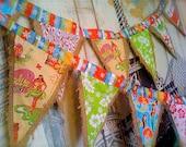 7 flag Christmas Hawaiian bunting pennants upcycled from burlap coffee sacks Mele Kalikimaka photo prop