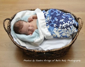 CUSTOM SMALL 22 x 36 Hawaiian print receiving blanket with comfy, cozy plush back and a silky ribbon