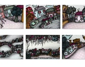 Set of 6  Postcards - Mini Print Set - Higgledy Houses - Happy House warming Present