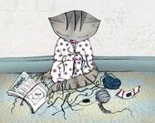 Crochet Cat Print - Giclee Fine Art Print  A4