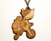 Cat Necklace Christmas gift - tricycle laser cut birch wood jewelry bicycle bike cat accessories