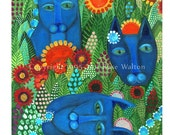 Blue Cat Garden primitive  folk art archival giclée print by Pennsylvania folk artist Rose Walton 5x7""