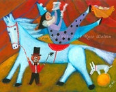 "9 to 5  primitive folk art surreal archival giclée print by Pennsylvania folk artist Rose Walton 5x7"" circus horse clown juggler"