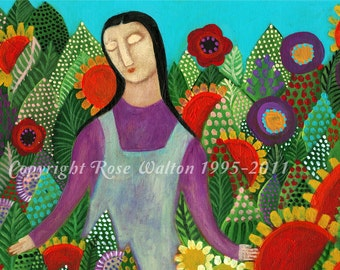 "God is Good primitive religious folk art archival giclée print by Pennsylvania folk artist Rose Walton 5x7"""