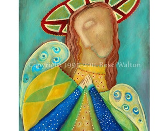 Angel of God II primitive cubist religious folk art archival giclée print by Pennsylvania folk artist Rose Walton