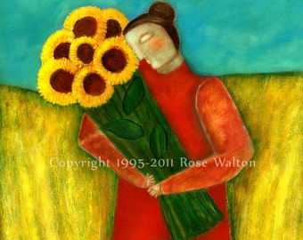 "The Harvest is Done primitive folk art archival giclée print by Pennsylvania folk artist Rose Walton 5x7"""
