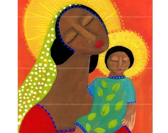The African Madonna primitive religious folk art archival giclée print by Pennsylvania folk artist Rose Walton