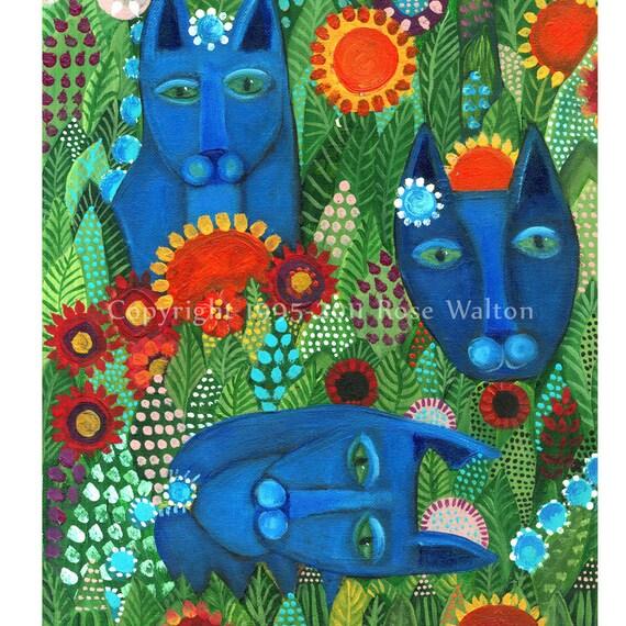 "Blue Cat Garden primitive  folk art archival giclée print by Pennsylvania folk artist Rose Walton 5x7"""
