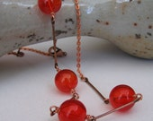 Red Glass Necklace, Red Hollow Glass, Copper Necklace, Lust Red Glass, Copper Rods, Copper Chain, Copper Jewelry
