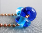 Copper Necklace, Blue Glass Necklace,  Ball Chain Necklace, Beaded Necklace, Copper Jewelry, Glass Jewelry