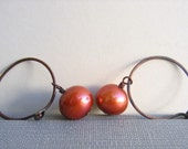 Roast Pumpkin Pearl and Copper Earrings