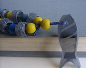 Hemp Necklace, Recycled Glass, Grey Glass Fish, Blue Hemp Cord, Yellow Wood Beads, Blue Wood Beads, Grey Glass Beads, Eco Friendly