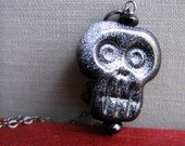 Skull Necklace, Silver Necklace, Spooky Ghoul, Glass Skull, Silver Chain, Glass Necklace, Black Onyx, Skull Pendant
