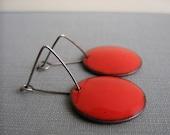 Red Earrings, Enameled Earrings, Enameled Copper, Round Red Circles, Silver Earrings, Geometric Jewelry, Silver Jewelry