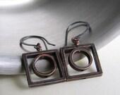 Copper Earrings, Geometric Earrings, Circle Square Earrings, Dangle Earrings, Copper Jewelry, Fashion Jewelry, Modern Jewelry