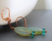 Glass Earrings, Copper Earrings, Copper Chain, Torpedo Fish, Czech Glass, Aqua Green Glass, Copper Jewelry