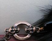 Mink Earrings . Femme Fatale Mink and Copper Skull Earrings