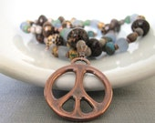 Copper Necklace, Peace Sign Pendant, Greywood Necklace, Glass Necklace, Beaded Necklace, Old Palmwood