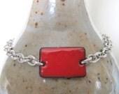 Red Bracelet, Enamel Bracelet, Silver Bracelet, Enameled Copper, Silver Chain, Chain Bracelet, Red Rectangle, Geometric Jewelry