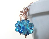 Glass Earrings, Copper Earrings, Blue Earrings, Ocean Blue Earrings, Aquamarine Glass, Dangle Earrings, Flower Earrings, Copper Jewelry