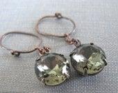 Grey Green Earrings, Clear Glass, Copper Earrings, Vintage Glass Charms, Black Diamond, Copper Hoops