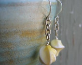 Lucite Earrings, Pale Yellow, Yellow Swirled,  Silver Earrings, Silver Chain, Sterling Silver, Silver Jewelry, Lucite Jewelry