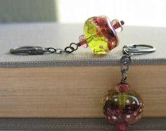 Silver Earrings, Fuchsia Red, Olive Green, Apple Green, Dangle Earrings, Glass Earrings, Beaded Earrings, Sterling Silver