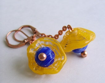 Yellow Earrings,  Glass Earrings, Copper Earrings, Lampwork Glass, Copper Jewelry, Dangle Earrings