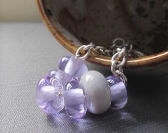 Glass Bracelet, Lavender Glass, Silver Bracelet, Grey Glass, Lampwork Glass, Silver Jewelry, Sterling Silver, Chain Bracelet