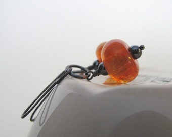 Glass Earrings, Orange Peel Glass, Silver Earrings, Lampwork Glass, Hematite, Oxidized Silver, Sterling Silver, Silver Jewelry