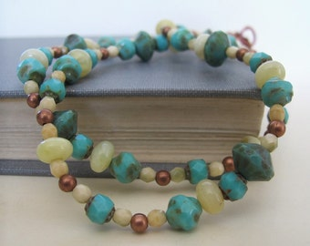 Beaded Necklace, Yellow African Opals, Turquoise Glass, Endive Green Glass,  Pale Yellow Green, Copper Jewelry, Czech Glass