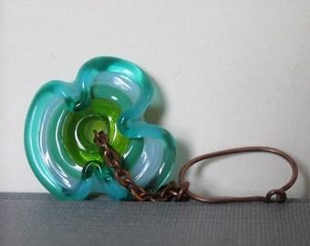 Glass Earrings, Ruffled Glass, Copper Earrings, Blue Green,  Lampwork Glass, Oxidized Copper,  Glass Jewelry, Copper Jewelry, Glass Discs